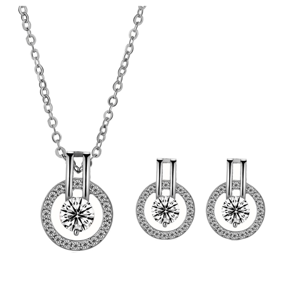 Zhang Trading Co, Ltd. 18K Gold Plated Halo with Solitaire Simulated-Diamond Necklace+Earring Set Zhang Trading Co.