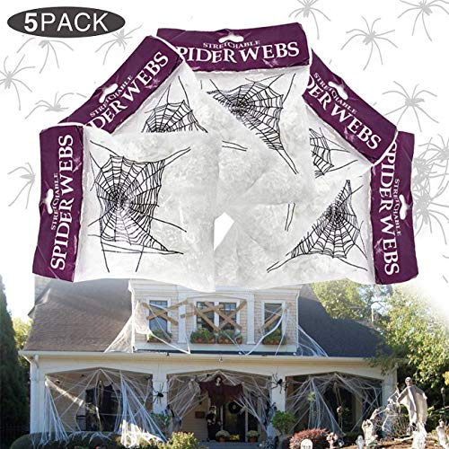Yomiie Halloween Fake Stretch Spider Web, Home & Outdoor Cobweb Decor Giant White Spiderwebs with Plastic Spiders for Haunted Houses Party Decorations (5 Pack, 800 sqft)