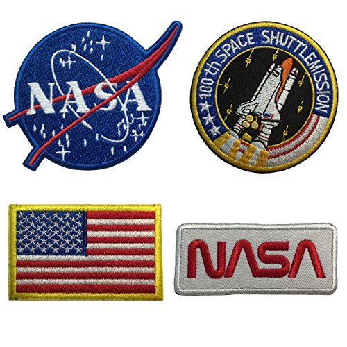 SpaceAuto Bundle 4 Pieces Iron on or Sew on Military Tactical Morale Badge Emblem Patch - NASA Logo,100th Space Shuttle Mission, Golden Red USA Flag, NASA