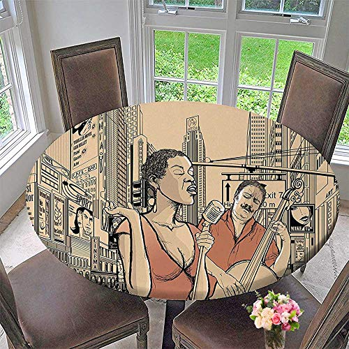 Mikihome Chateau Easy-Care Cloth Tablecloth an Jazz Singer with Double Bass Player in a Street of Urban for Home, Party, Wedding 35.5