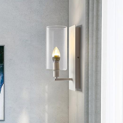 CHEN1 Moderna Sala de Estar Minimalista Dormitorio Cabecera de Fondo Lámpara de Pared Escalera Creativa Pasillo Pasillo Vela Lámpara de Pared de Vidrio,Blanco,15 * 30: Amazon.es: Hogar