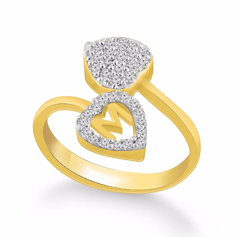 Buy Kanak Jewels Diamond Heart Letter M Designed Ring for Girls ...