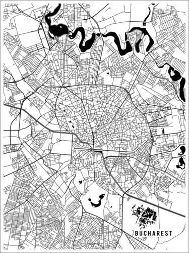 Posterlounge Cuadro de metacrilato 120 x 160 cm: Bucharest Romania Map de Main Street Maps