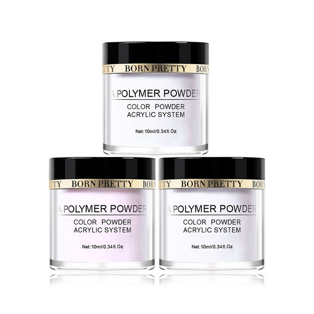 BORN PRETTY Sweet Nail Acrylic Powder Collection Set of 3 Colors-Pink White Clear Powder Builder Professional Acrylic Nail System
