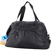 MIER Women's Gym Bag with Shoe Compartment Travel Duffel Bag Tote, 20 inch, Black