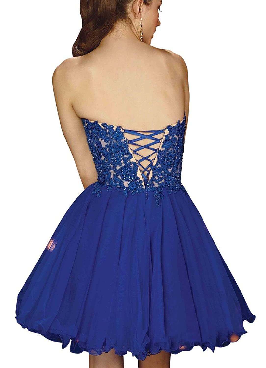 Girl's A-line Short Homecoming Dresses Applique Bodice Ruffle Evening Gowns