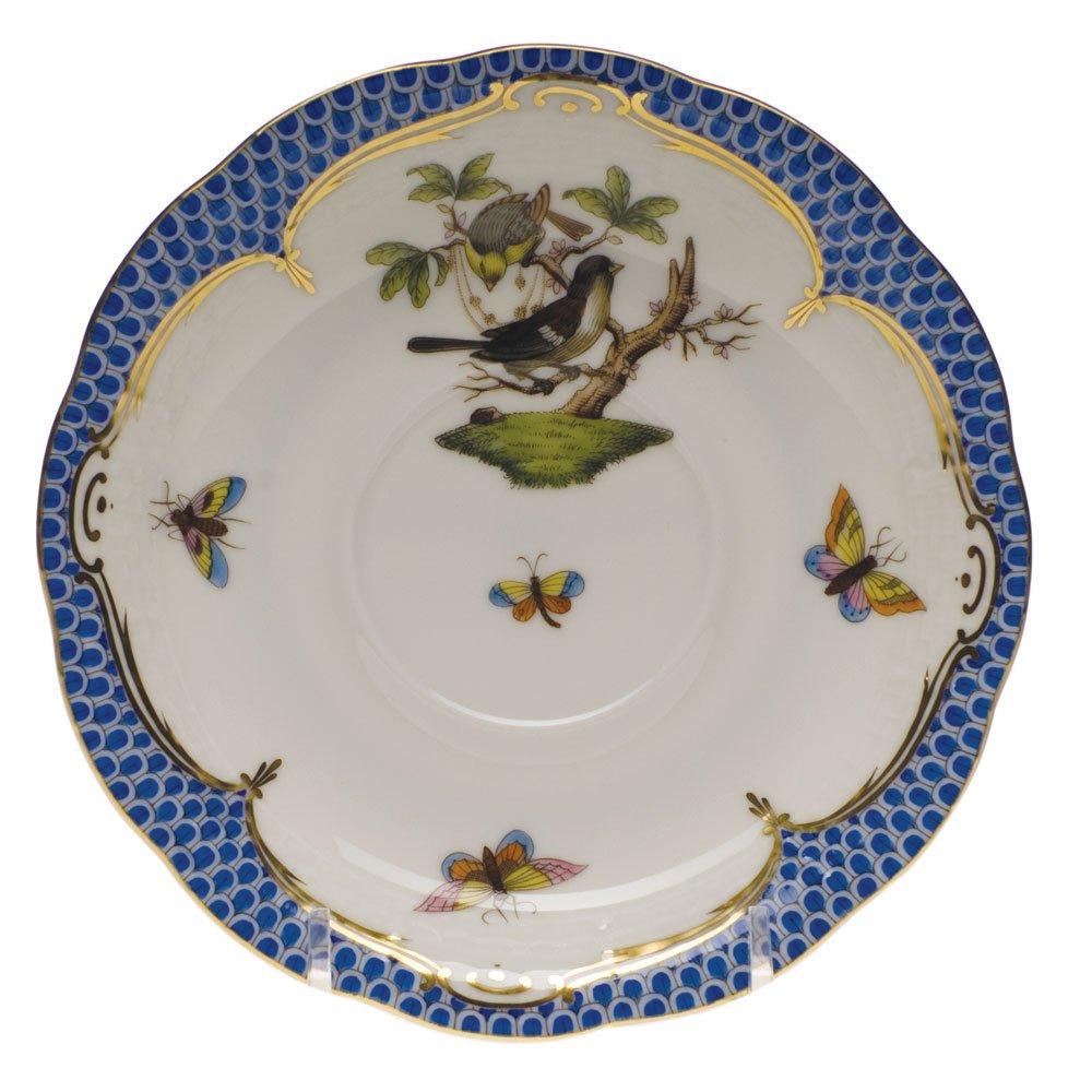 Herend Rothschild Bird Blue Tea Saucer Motif #1
