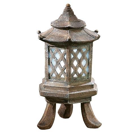 amazon com solar powered asian pagoda style lantern garden outdoor