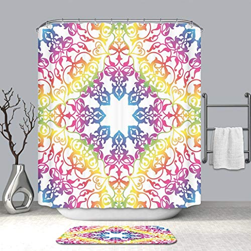 Creative Shower curtain And bath mat rug Ethnic Abstract Ombre Vivid Rainbow Colored Lace Mandala Tie Dye Flower Kids Hippie Mildew Resistant & Waterproof Polyester Decoration Bathroom Curtain Set (Tie Dye Toothbrush)