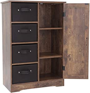 USIKEY Dresser Storage Tower with 4 Removable Drawers and 1 Cabinet, Storage Cabinet, Wine Cupboard with Door, Bookcase, for Living Room, Bedroom, Office Organizer