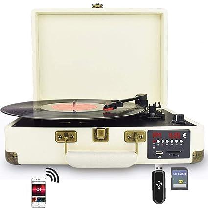 DIGITNOW! Tocadiscos Bluetooth de Cuero - Función Grabación, FM Radio, MP3,USB, SD, 3 velocidades, 33/45/78 RPM con Altavoces Incorporados