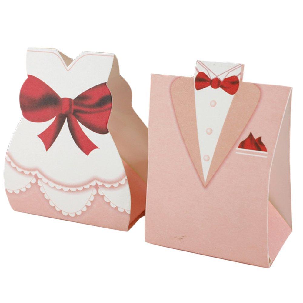 Amazon.com - 50Pcs Pink Bride Groom Tuxedo Dress Gown Wedding Favor ...