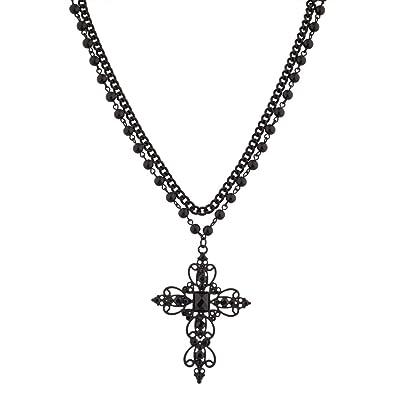05b30428fd551 Amazon.com  Lux Accessories Classic 80s Gothic Black Rosary Style ...