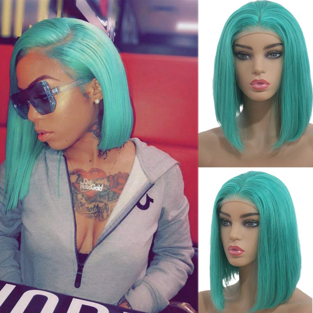 Licoville Lake Blue Bob Lace Wig Silky Straight Brazilian Human Hair Wigs Pre Plucked Natural Hairline 13×4 Middle Part Short Even Bob Cut, 8 inch with 180% Density by Licoville