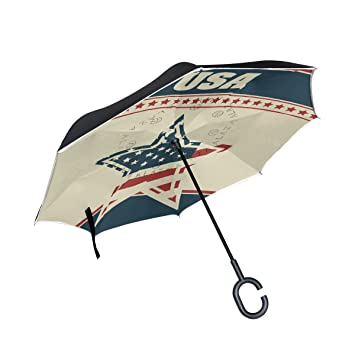 coosun Patriot fondo doble capa paraguas invertido Reverse paraguas para coche y uso al aire libre