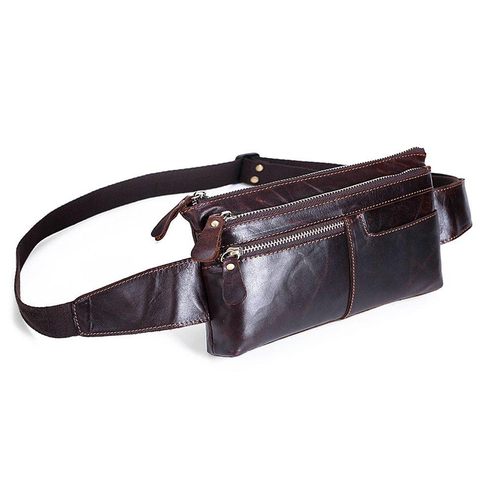 Ivotre echtes Top Leder Taille Tasche Vantage Stil Schulter Sling Bag, Funktionales und 4. Brust Tasche für Herren, Jungen, Teens – Kaffee