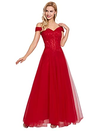 Sisjuly Womens Off Shoulder Tulle Prom Gown A-line Evening Dresses 4 Red