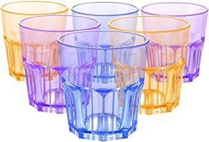 EggFoil Plastic Drinking Glasses, 7 Oz Reusable Colored Plastic Tumblers Cups for Cold Beverages (6 Pack)