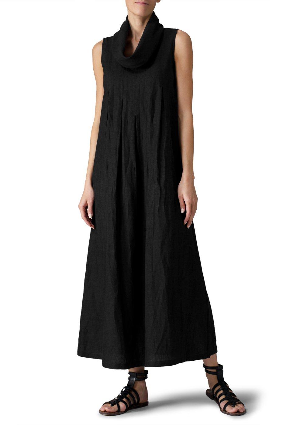 Vivid Linen Sleeveless Cowl Neck Long Dress-XXL-Black