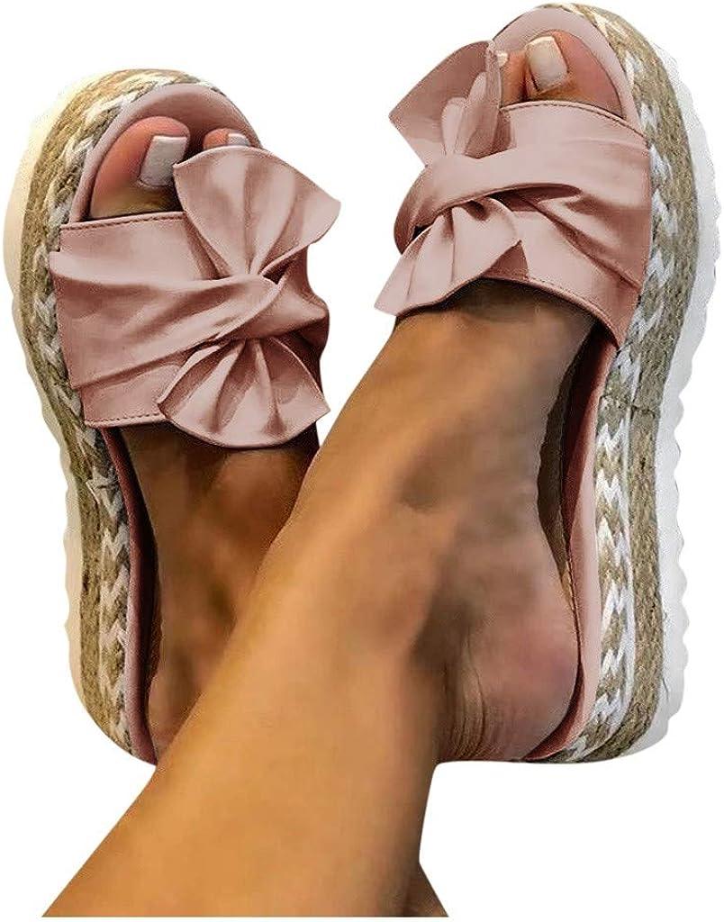 Aniywn Summer Bow Tie Flip Flops Flat Espadrille Platform Wedge Sandals for Women Casual Breathable Open Toe Sandals