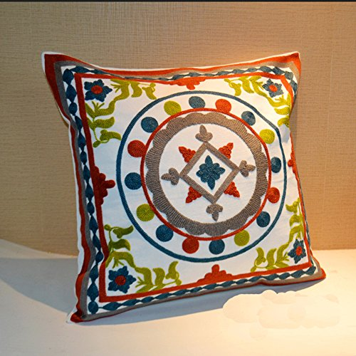 dream_home Cross-stitch Ethnic Style Square Pillowcase - Countryside Design Waist Throw Pillow Cover Cushion No Filler Everything Goes Well 17.7 x 17.7 Inch