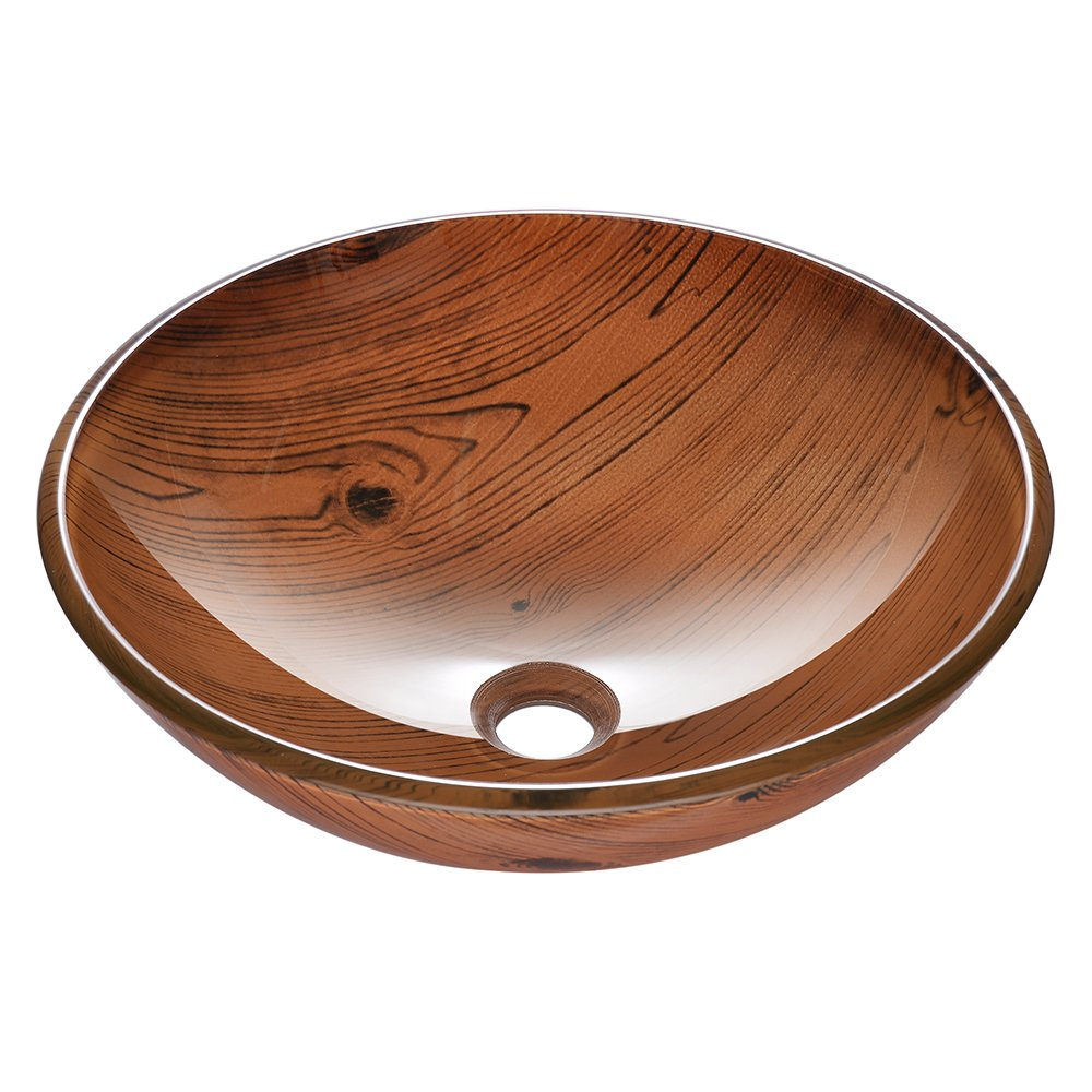 Aquaterior Tempered Glass Round Vessel Sink Wood Grain Pattern Above Counter Bathroom Lavatory Vanity Hotel Bowl Basin by Aquaterior (Image #3)