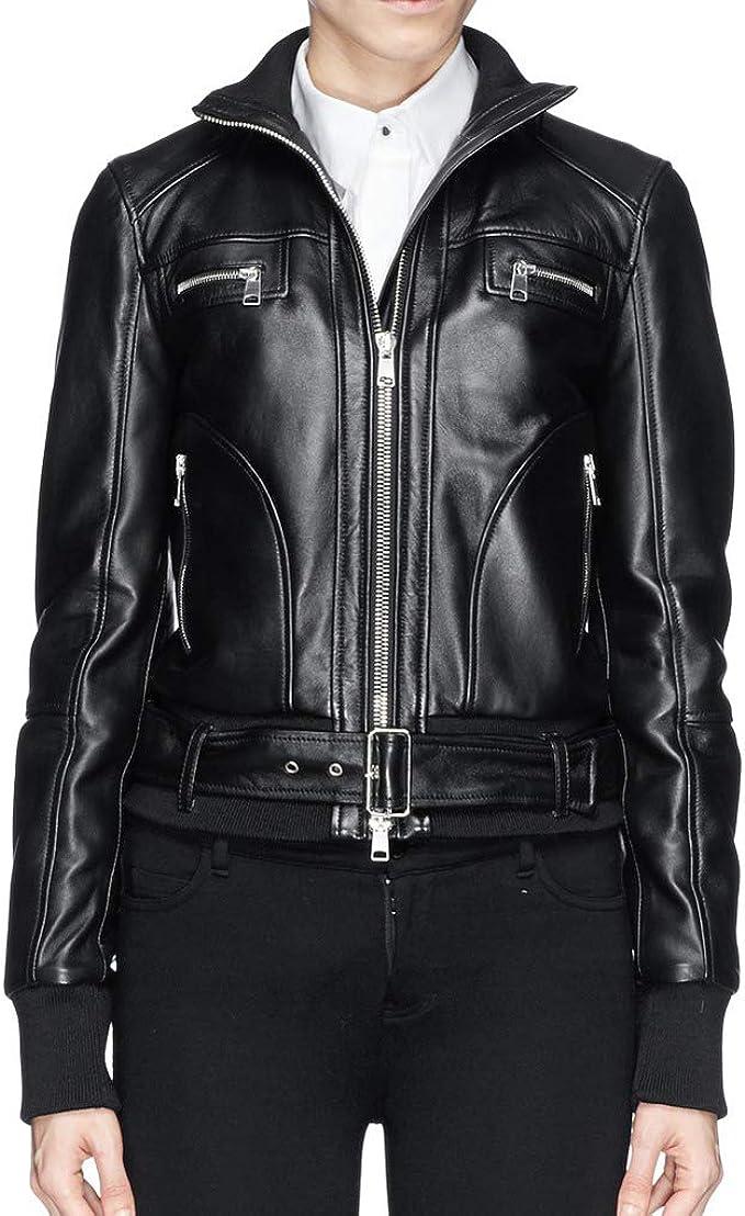 Woojo Brand Womens Genuine Real Lambskin Leather Jacket Bomber Leather Jacket/WO066