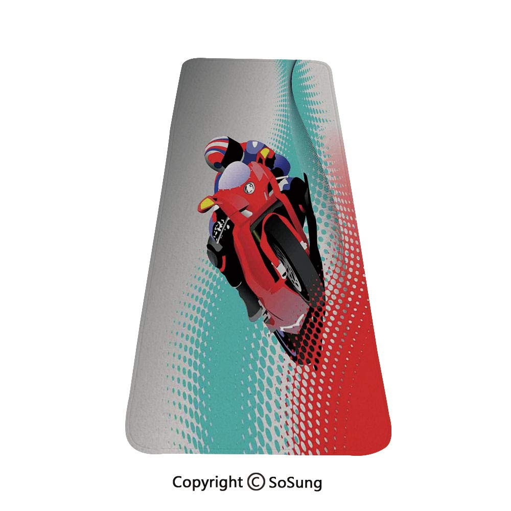 Motorcycle Rug Runner,Biker on Road Digital Dot Background Fast Extreme Risky Leisure Graphic Work,for Living Room Bedroom Dining Room,6'x 2',Red Grey Blue by SoSung