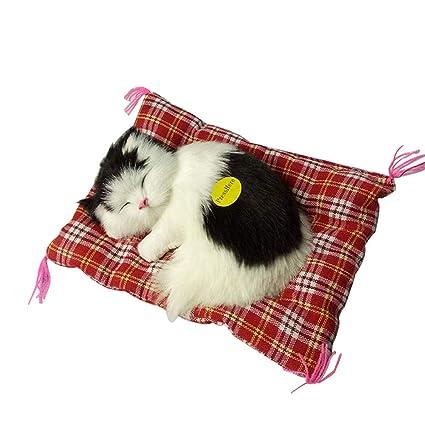 TrifyCore Simulación Linda de los Gatos el Dormir Adornos Juguete de Peluche Juguete Gato Gatito Home Car Decor Regalos1 Unid (Gato Blanco y Negro)