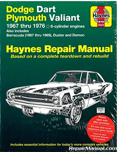 H30025 Haynes Dodge Plymouth Dart Demon Valiant Duster Barracuda 1967-1976 Repair Manual Demon Dart
