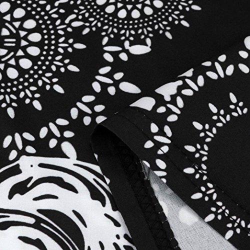 Sexy de Fiesta LuckyGirls Sin Falda Mujer Manga Vestido de Lunares Estampado Vestido Noche de Floral Negro Playa Casual Elegancia Verano qIrw5r