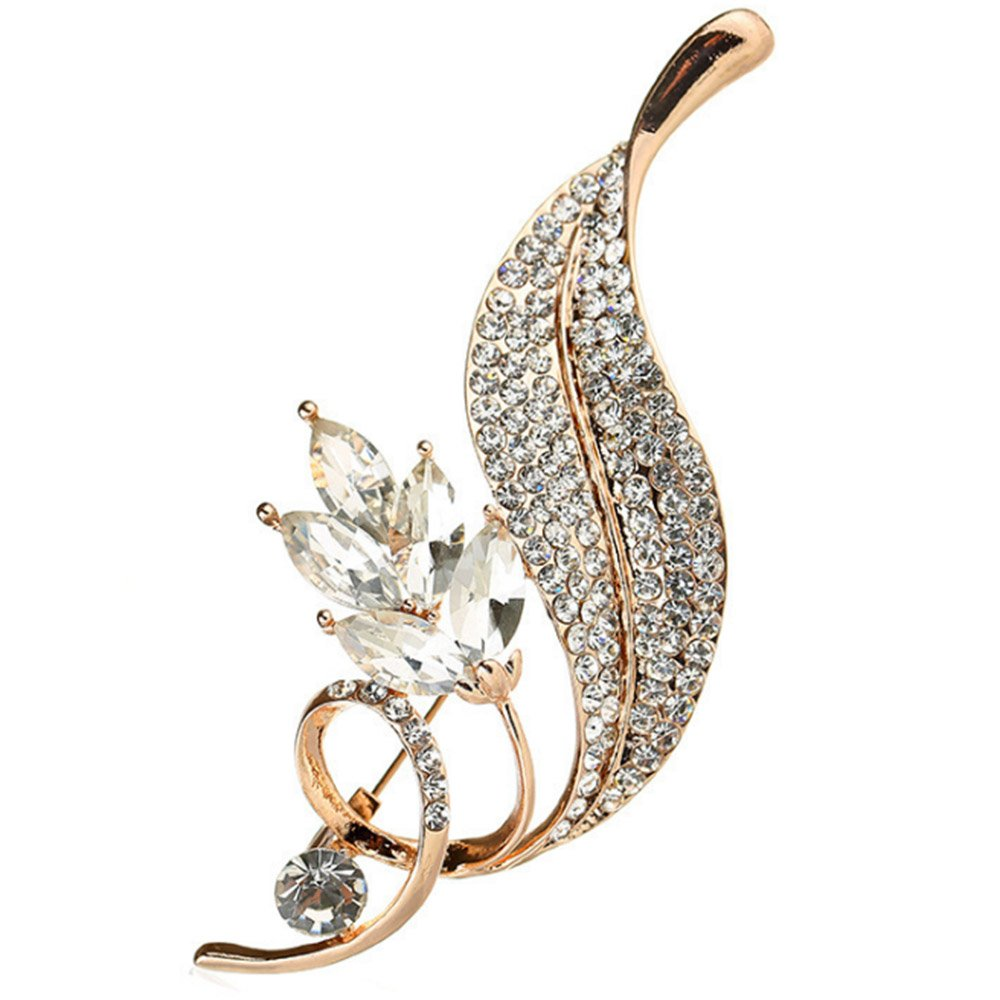 menoa Flower Leaf Brooch Pin Spiral Delicate Rhinestone Rose Gold Plated Cocktail Accessory Gift