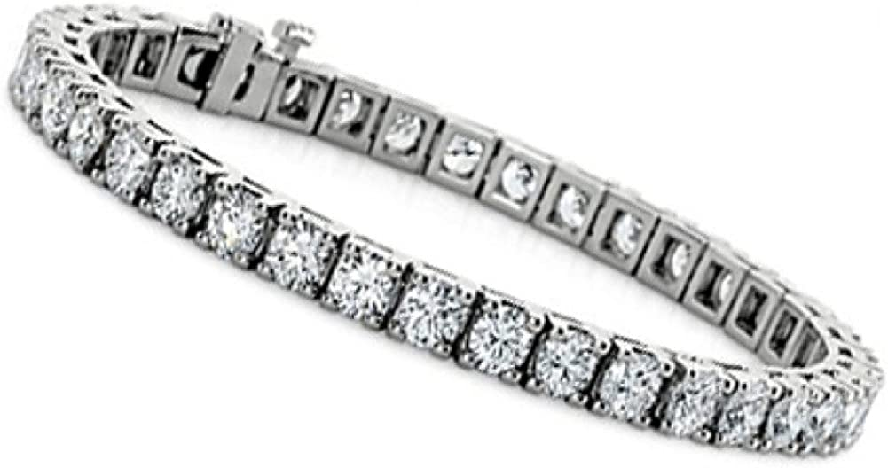 Madina Jewelry 3.00 ct Ladies Round Cut Diamond Tennis Bracelet in 14 kt White Gold: Jewelry