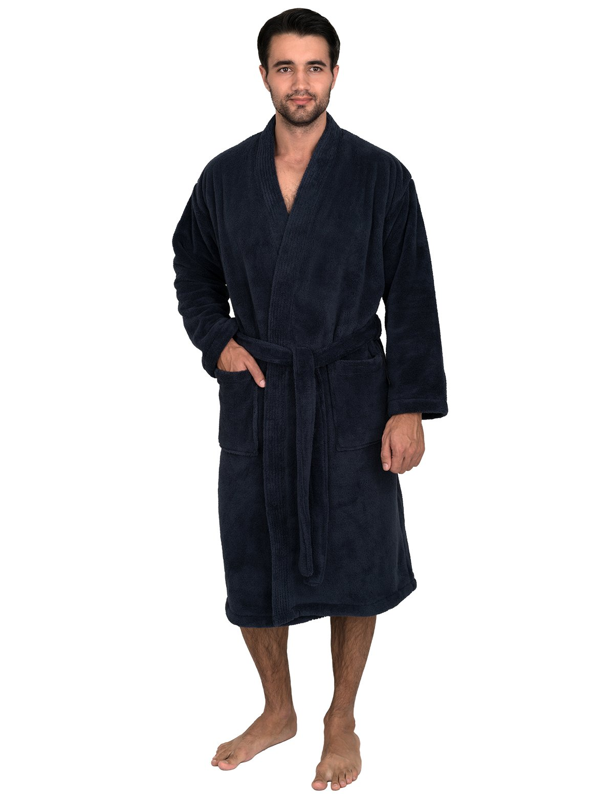 TowelSelections Super Soft Plush Kimono Bathrobe Fleece Spa Robe for Men Large/X-Large Navy by TowelSelections