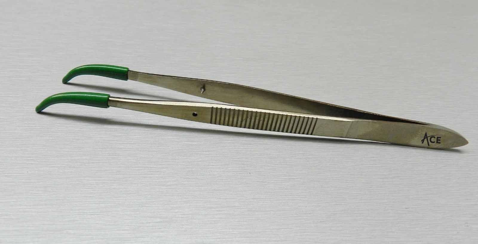 ACE Tweezers Curved Tip Rubber Tips PVC Coated Curved Tweezer Jewelry Hobby Craft by ACE (Image #4)