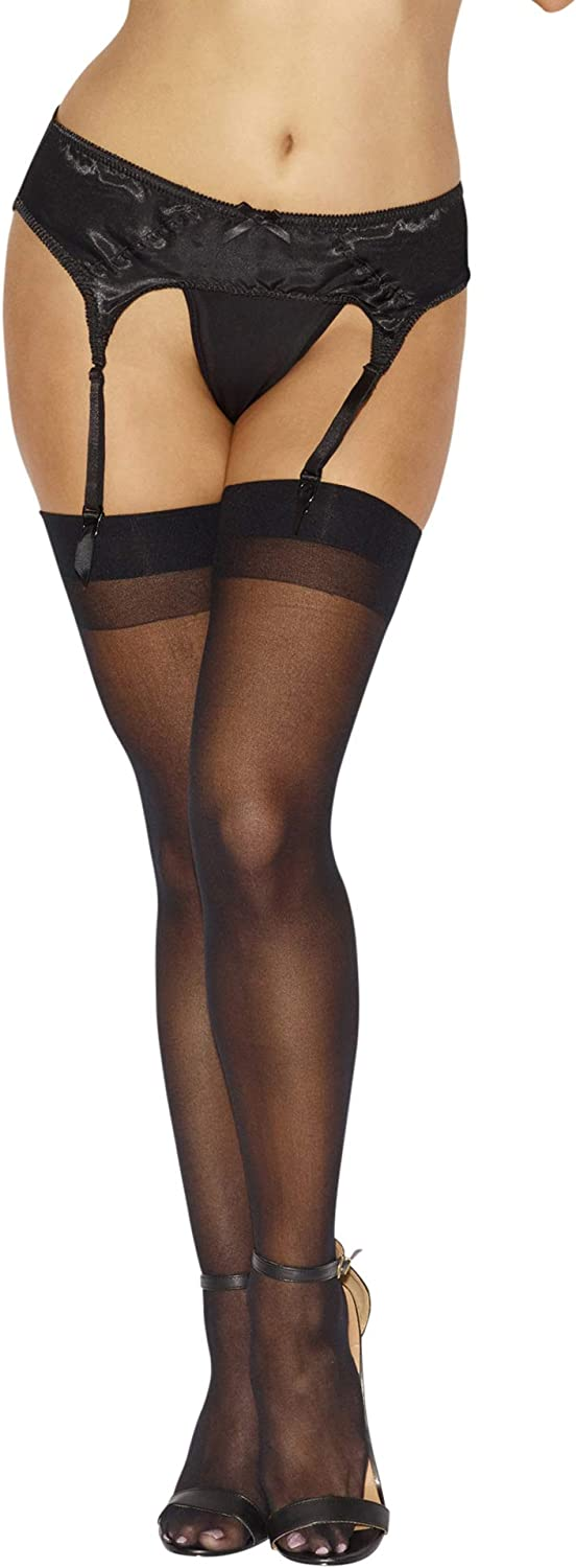 Dreamgirl Women's Thigh-High Stockings with Back Seam: Adult Exotic Hosiery: Clothing