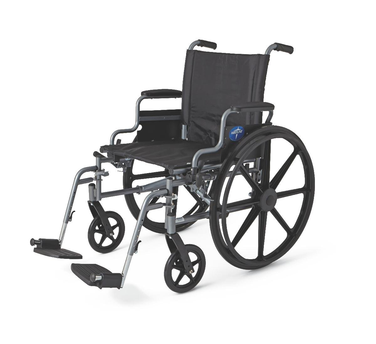 """Medline Lightweight and User-Friendly Wheelchair with Flip-Back Desk Arms and Swing-Away Leg Rests for Easy Transfers, Gray, 20"""" x 18'' Seat"""