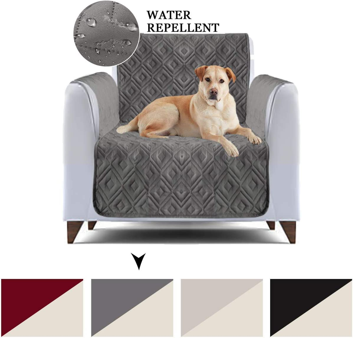 AMEHA Non Slip Waterproof Quilted Sofa Cover for Dogs Furniture Covers for Pets, With Elastic Straps, Sofa Slipcover Protector (One SeaterArm Chair,