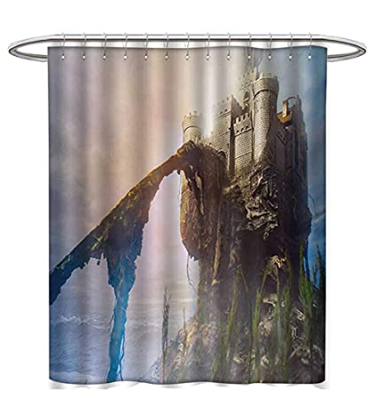 Medieval Shower Curtains Mildew Resistant Old Ancient Fantastic Castle On The Hill Legendary Royal Stories Middle