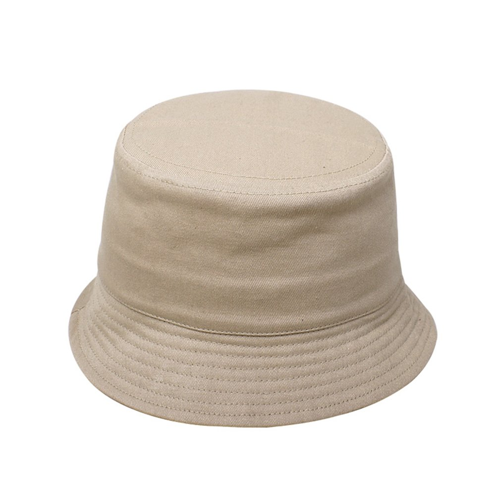 Opromo Kids Cotton Twill Bucket Hat, Children Summer Outdoor Sun Protection Hat-Khaki-48 PCS