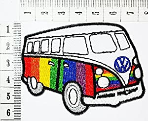 VW Volkswagen Van Bus Hippie Patch Cartoon Children Kids Embroidered Iron Sew On Clothes Bag T Shirt Jeans Biker Badge Applique