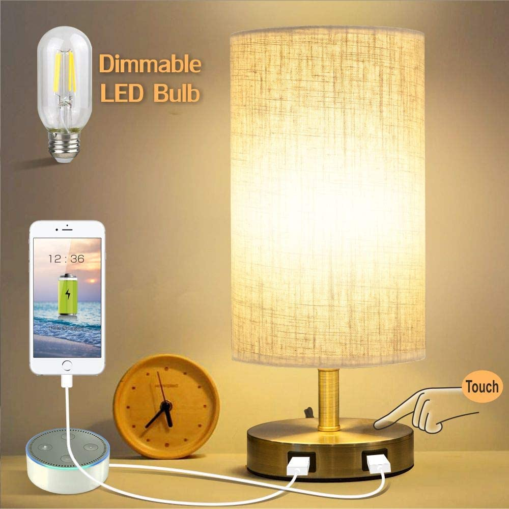 Focondot 3-Way Touch Control Table Lamp, 7W Edison Dimmable E26 Led Bulb Desk Lamp with Dual USB Charging Ports, Modern Bedside Lamp Nightstand Lamps for Bedroom Living Room Office