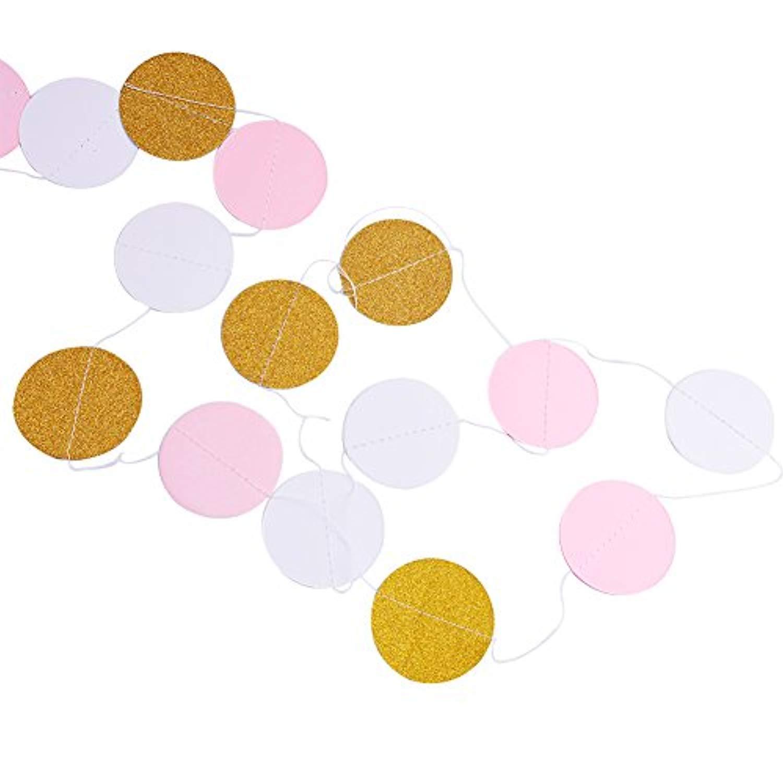 VENBON Cercle Guirlande Suspendue Mariage Guirlande de Papier Or Scintillant pour Bachelorette D/écoration de F/ête D/'/'Anniversaire-4 Pack-Pink
