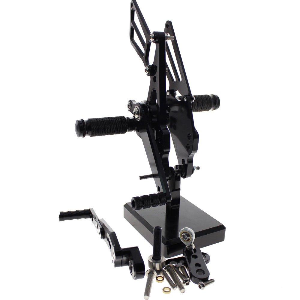 FXCNC GSX-R 600/750 Motorcycle Rearsets Rear Foot Pegs CNC Rear set Footrests Fully Adjustable Rear Foot Boards Fit for SUZUKI GSXR600 GSXR750 2011-2015 Black