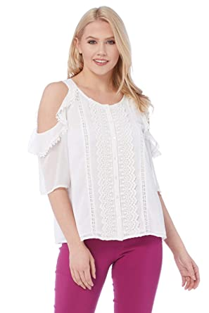 8ad3547b70886 Roman Originals Women Lace Embellished Cold Shoulder Top - Ladies Round  Neck Short Sleeve 100% Cotton Holiday Daytime Smart  Amazon.co.uk  Clothing