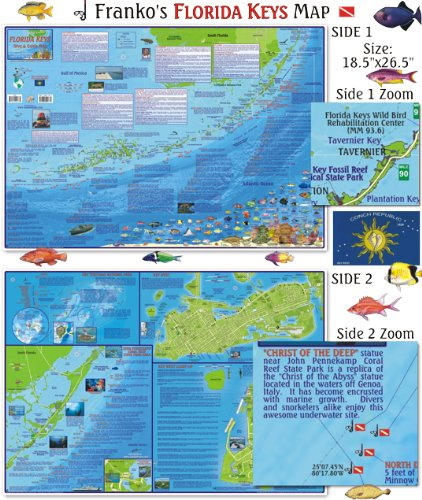 Florida Keys Maps.Amazon Com Franko Maps Florida Keys Scuba Diving Guide And Dive