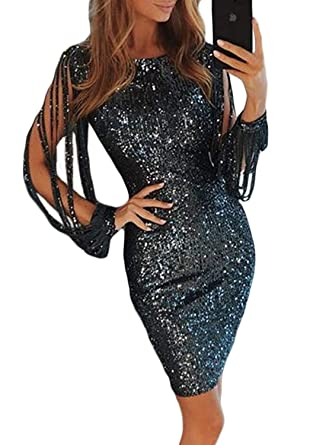 9b885d9bc35 Happy Sailed Women Sequin Tassel Sleeve Night Out Evening Party Mini Dress  at Amazon Women s Clothing store
