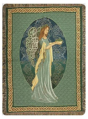 - KensingtonRow Home Collection Throws - Celtic Angel Tapestry Throw Blanket - Irish - Ireland - St Patricks Sofa Throw - Tapestry Throw