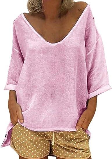 Mujer Blusa Camisa túnica Casual de Manga Larga de Talla Grande para Mujer Blusa de túnica de Playa de Lino de Verano Blusas Elegantes Blusa Color Liso Ancha Casual para LiNaoNa: Amazon.es: