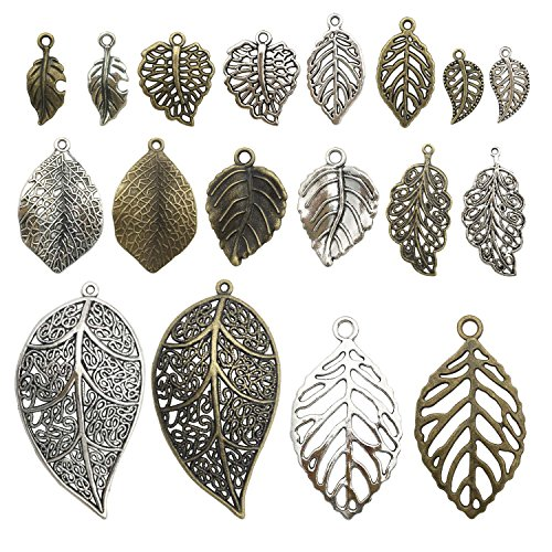 100g Leaf Charms Collection - Antique Silver Bronze Hollow Leaf Tree Leaves Branch Metal Alloy Pendants (HM91)